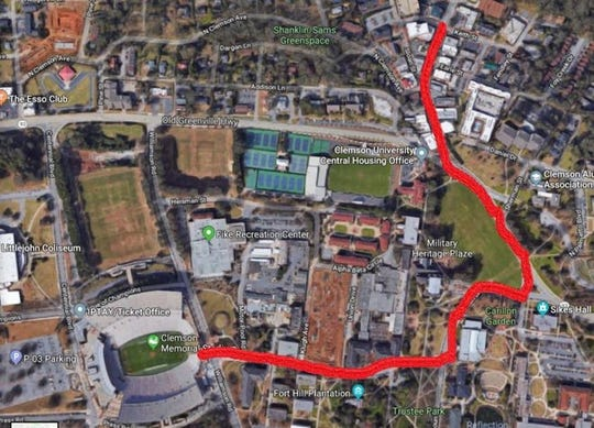 Parade route from Keith Street to Memorial Stadium