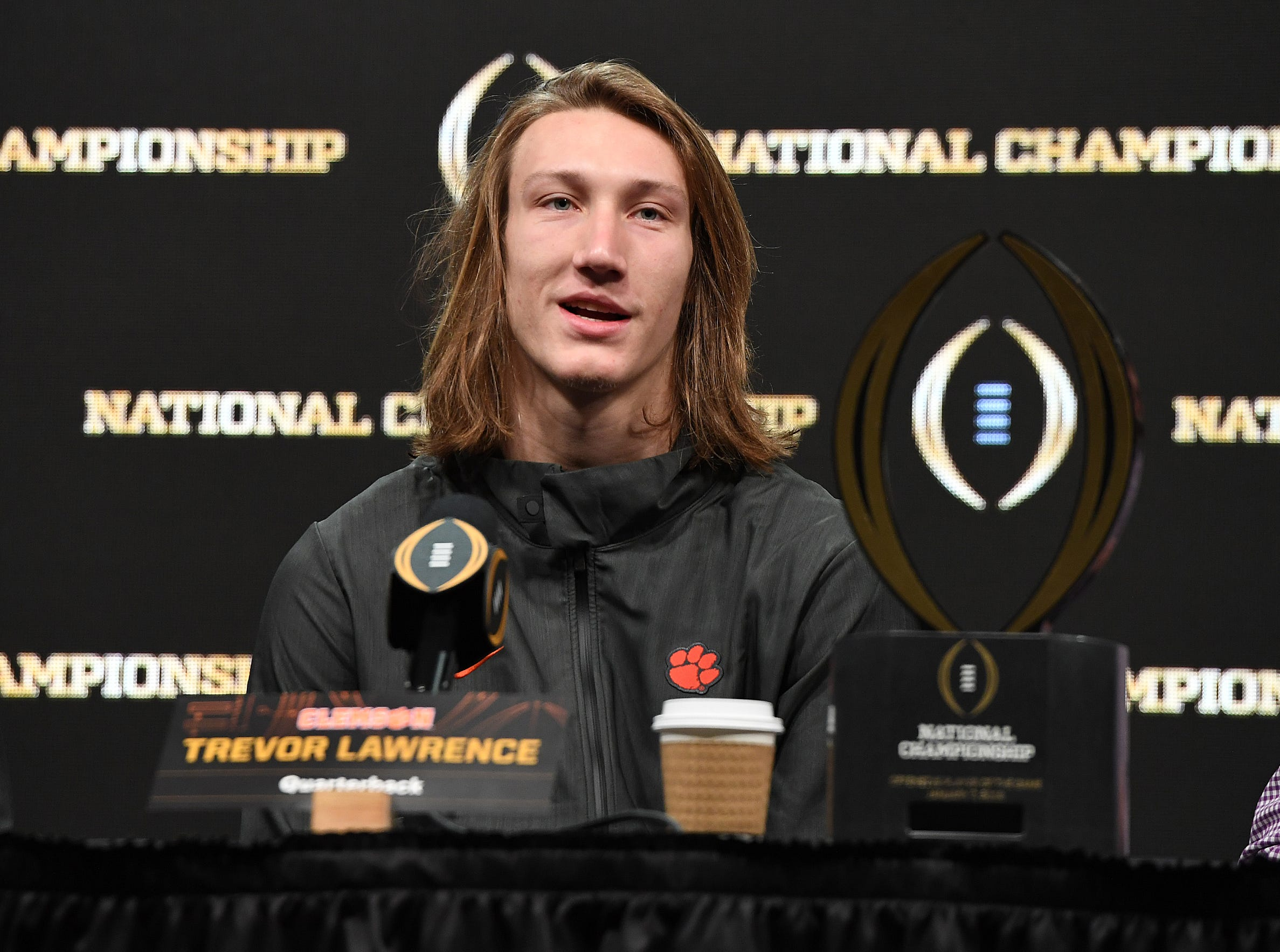 College Football National Championship offensive MVP Clemson quarterback Trevor Lawrence answers questions during the College Football National Championship press conference in San Jose, CA Tuesday, January 8, 2019.