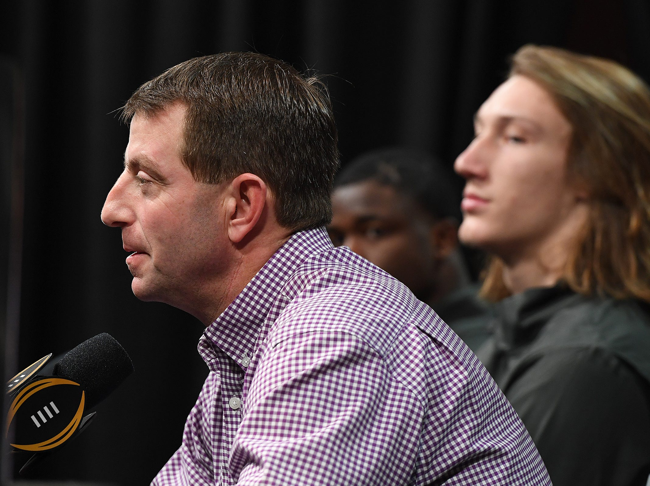 Clemson head coach Dabo Swinney answers questions during the College Football National Championship press conference in San Jose, CA Tuesday, January 8, 2019.