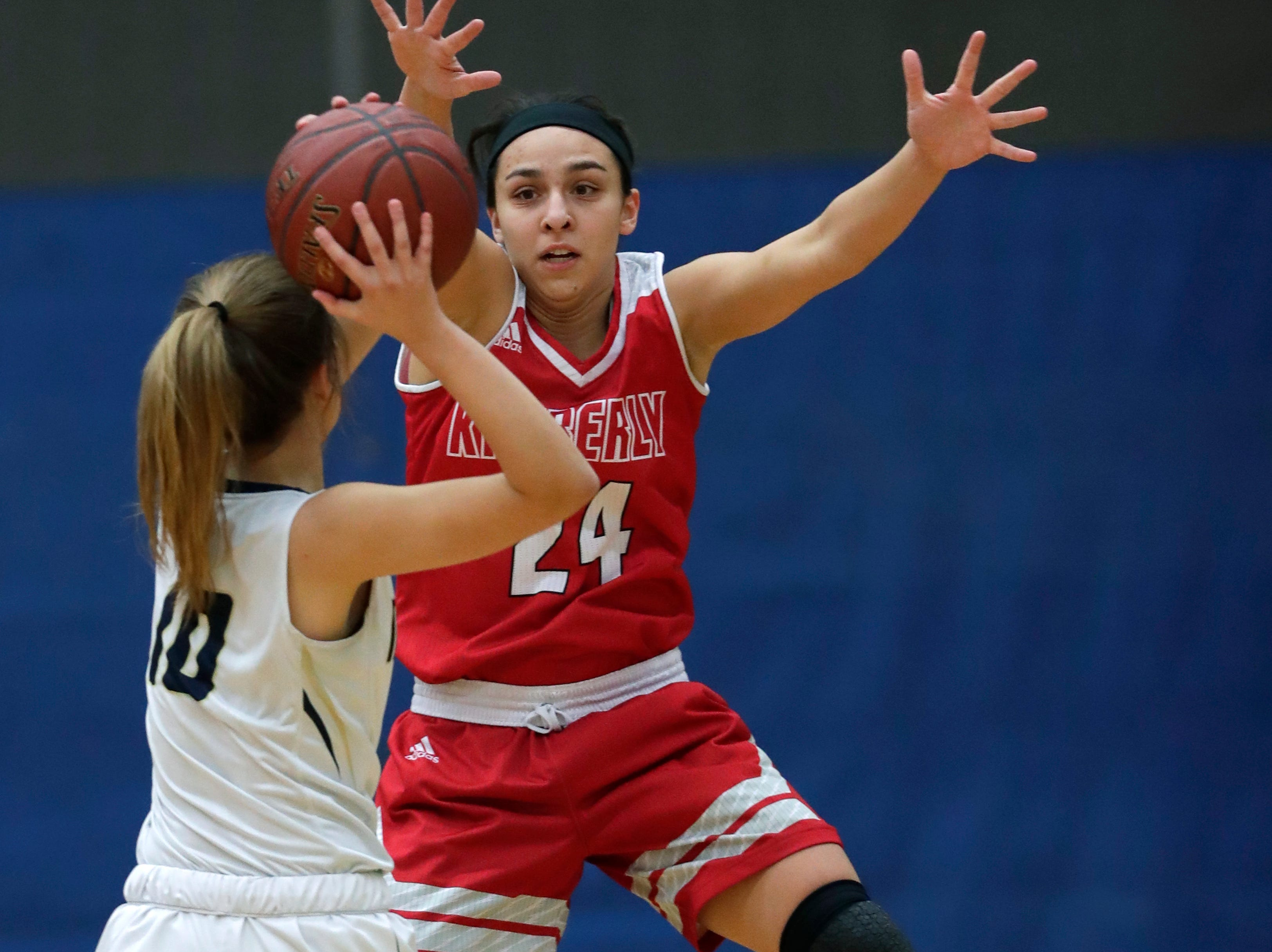 Kimberly High School's Shea Dechant (24) defends against Appleton North High School's Anna Laux (10) during their girls basketball game Tuesday, January 8, 2019, in Appleton, Wis. Dan Powers/USA TODAY NETWORK-Wisconsin