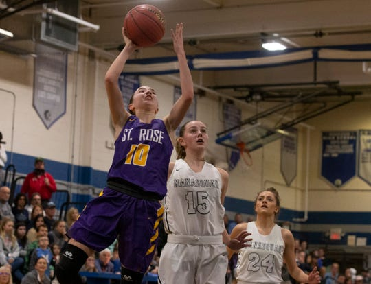St RoseÕs Abby Antognoli goes up with shot in first half action. St. Rose Girls Basketball vs Manasquan in Manasquan, NJ on January 8, 2019.