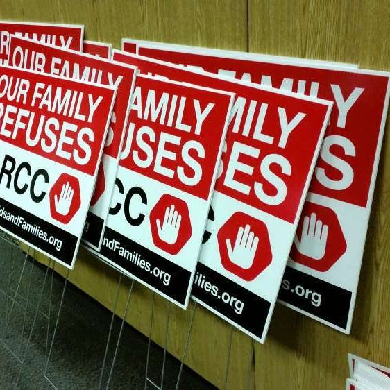 These signs showed some families' opposition to the PARCC test in 2016.