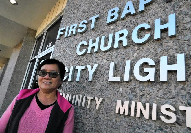 Maura dela Cruz outside City Light Community Ministry. She will be participating in a homeless survey later this month.