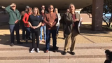 Samuel Garcia, joined by others, talks on Jan. 9, 2019, from City Hall about racist social media comments made by Abilene Councilman Kyle McAlister.