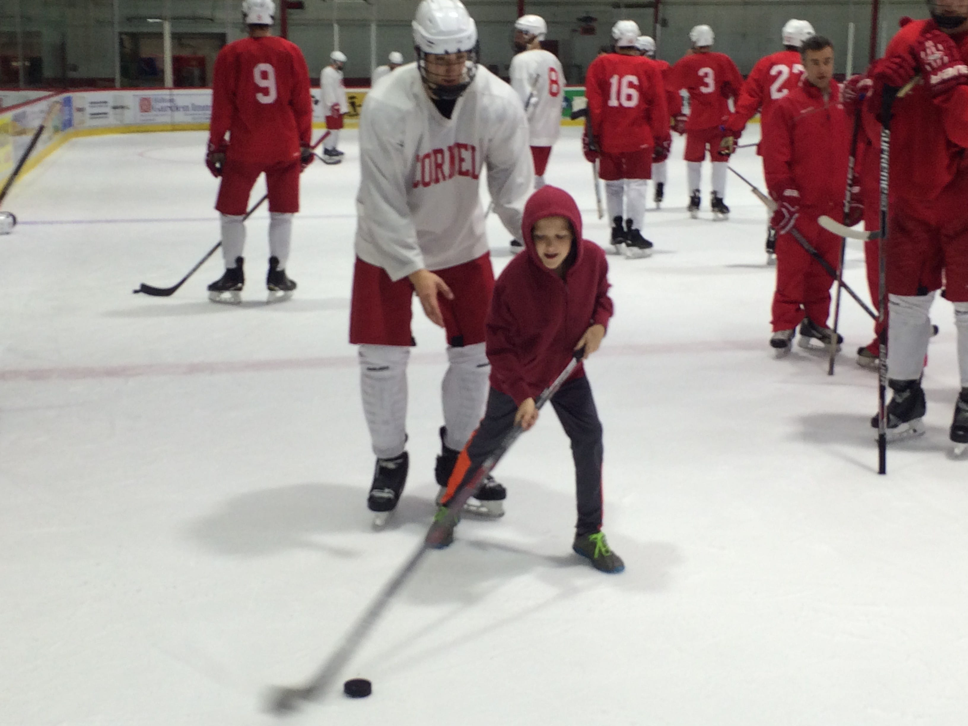 2015: Newark Valley resident Brody Hines, 9, gets to test his skills on the ice with Cornell University men's hockey players following a practice at Lynah Rink on Tuesday, Nov. 10, 2015.