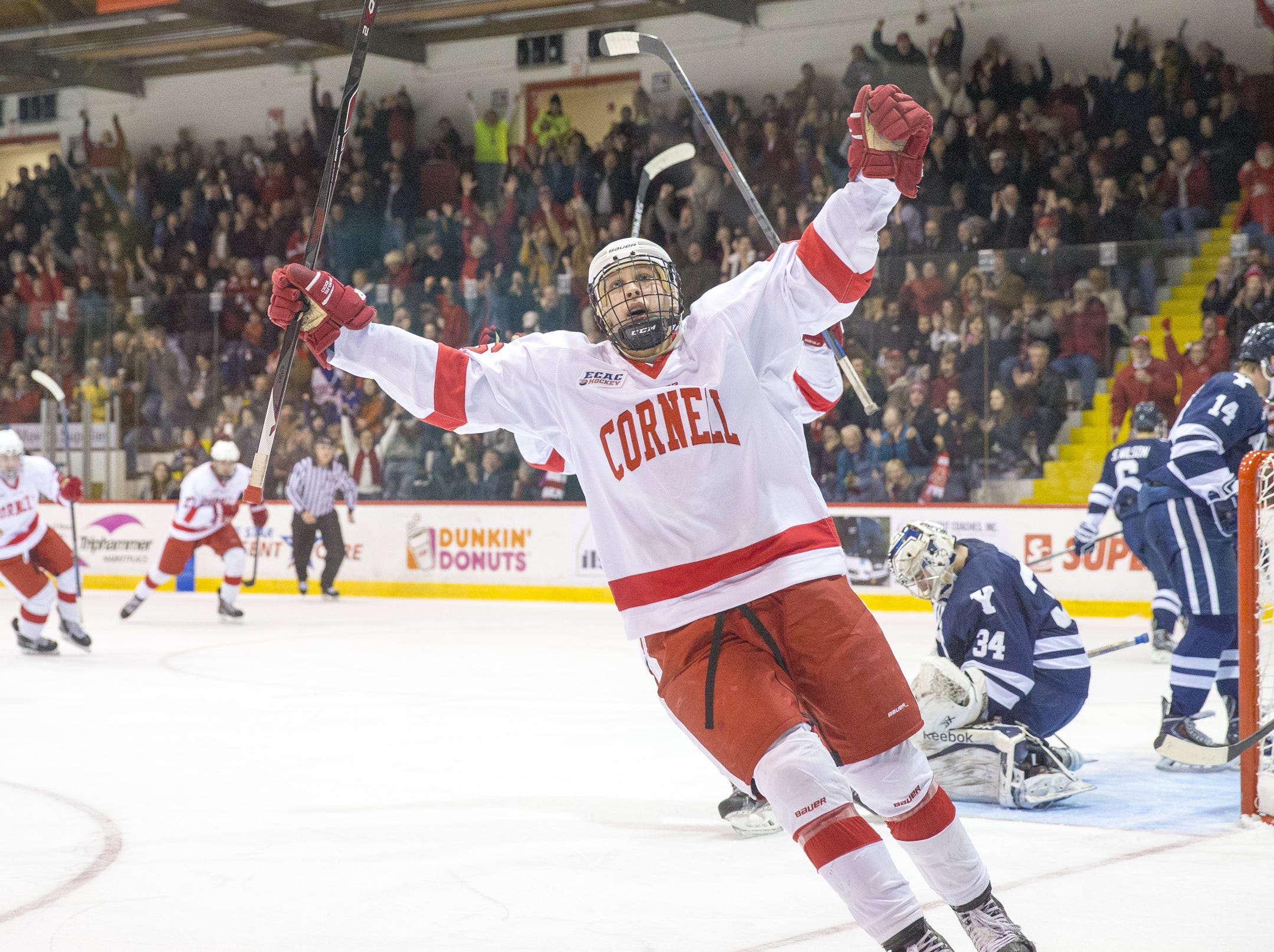 2014: Cornell sophomore center Jeff Kubiak celebrates the first career goal by freshman defenseman Ryan Bliss (far left) midway through Cornell's 3-2 defeat of Yale on Nov. 21.