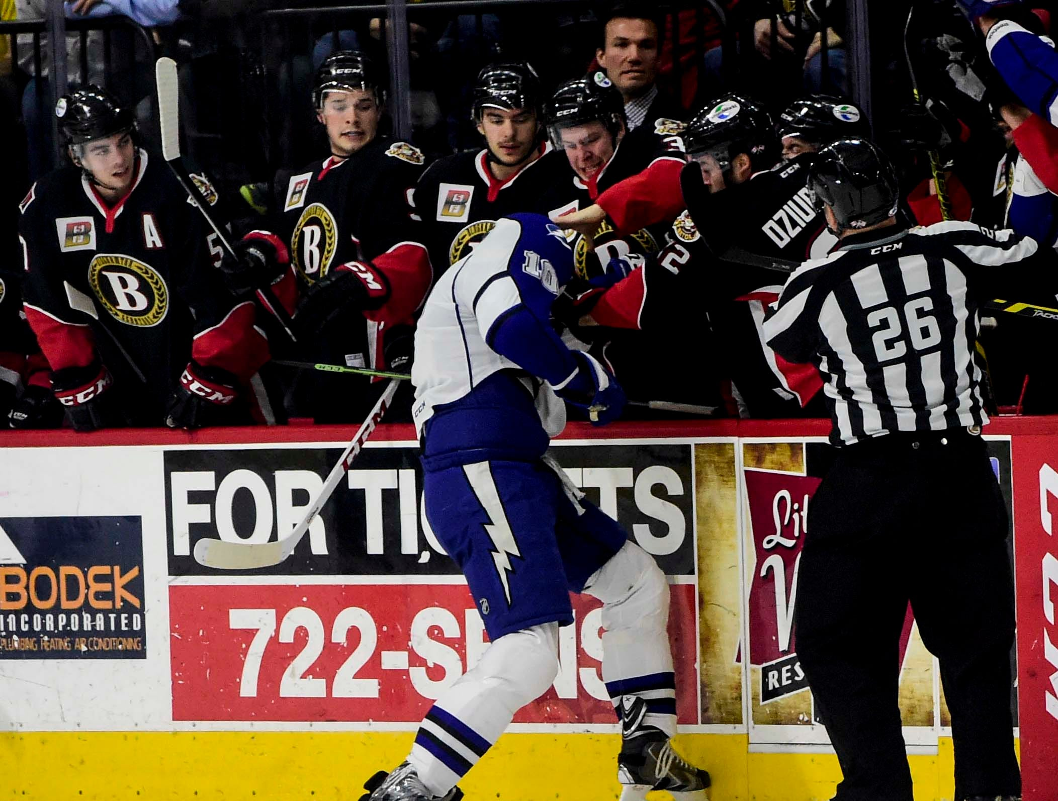2015: BinghamtonÕs bench gets into a fight with SyracuseÕs Mike Angelidis during a hockey game at the Floyd L. Maines Veterans Memorial Arena on Friday.