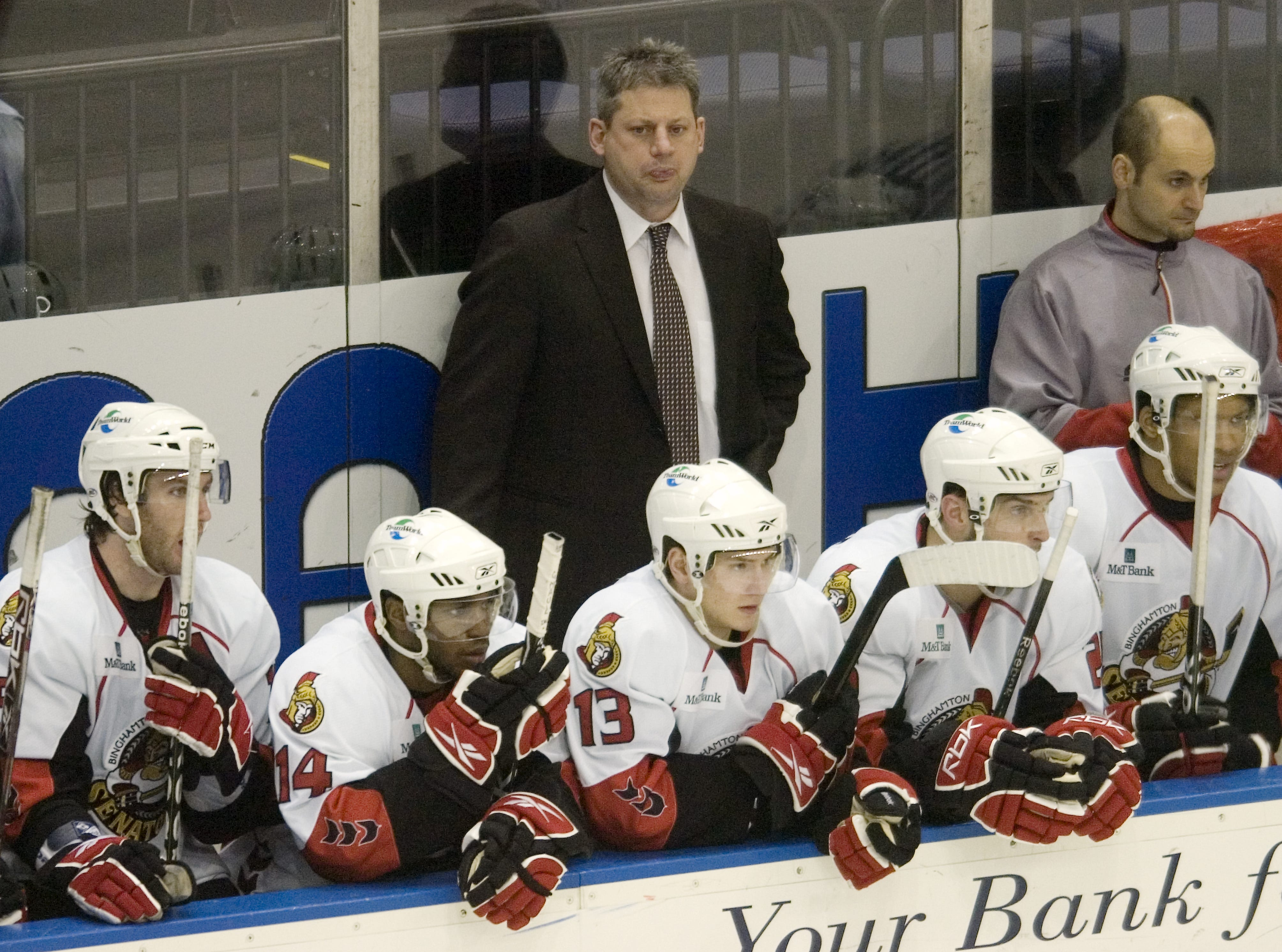 2009: Binghamton Senators coach Curtis Hunt behind the bench during a game in February 2009.