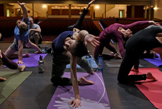 The Binghamton Philharmonic, in collaboration with TRYOGA, presented two sessions of Yoga On The Stage at the Forum Theatre in Binghamton in 2018. The event featured live music by cellist Hakan Taygaon.