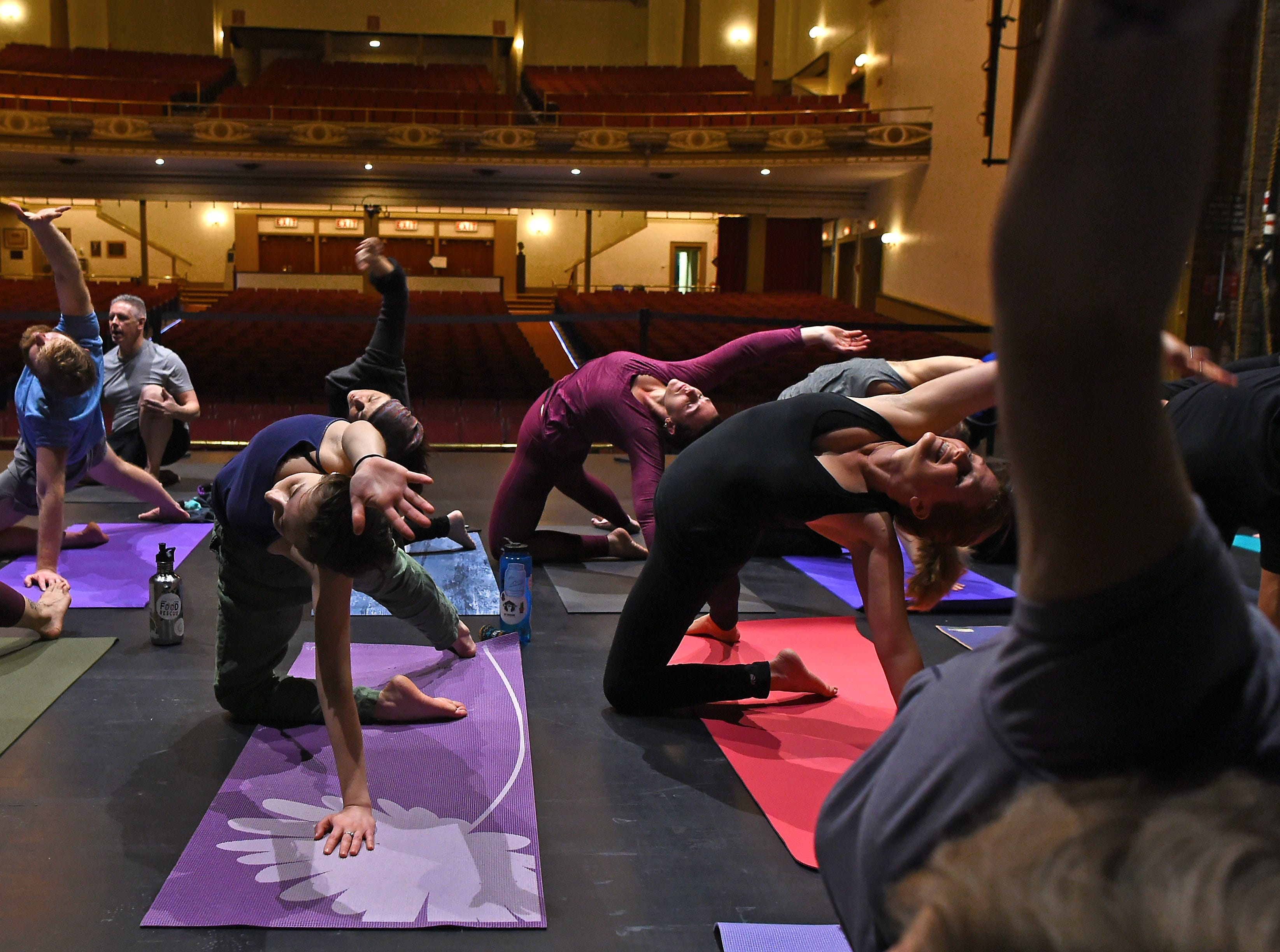 Binghamton Philharmonic, in collaboration with TRYOGA, presented two sessions of Yoga On The Stage at the Forum Theatre in Binghamton. The event featured live music by cellist Hakan Taygaon. Tuesday, January 8, 2018.