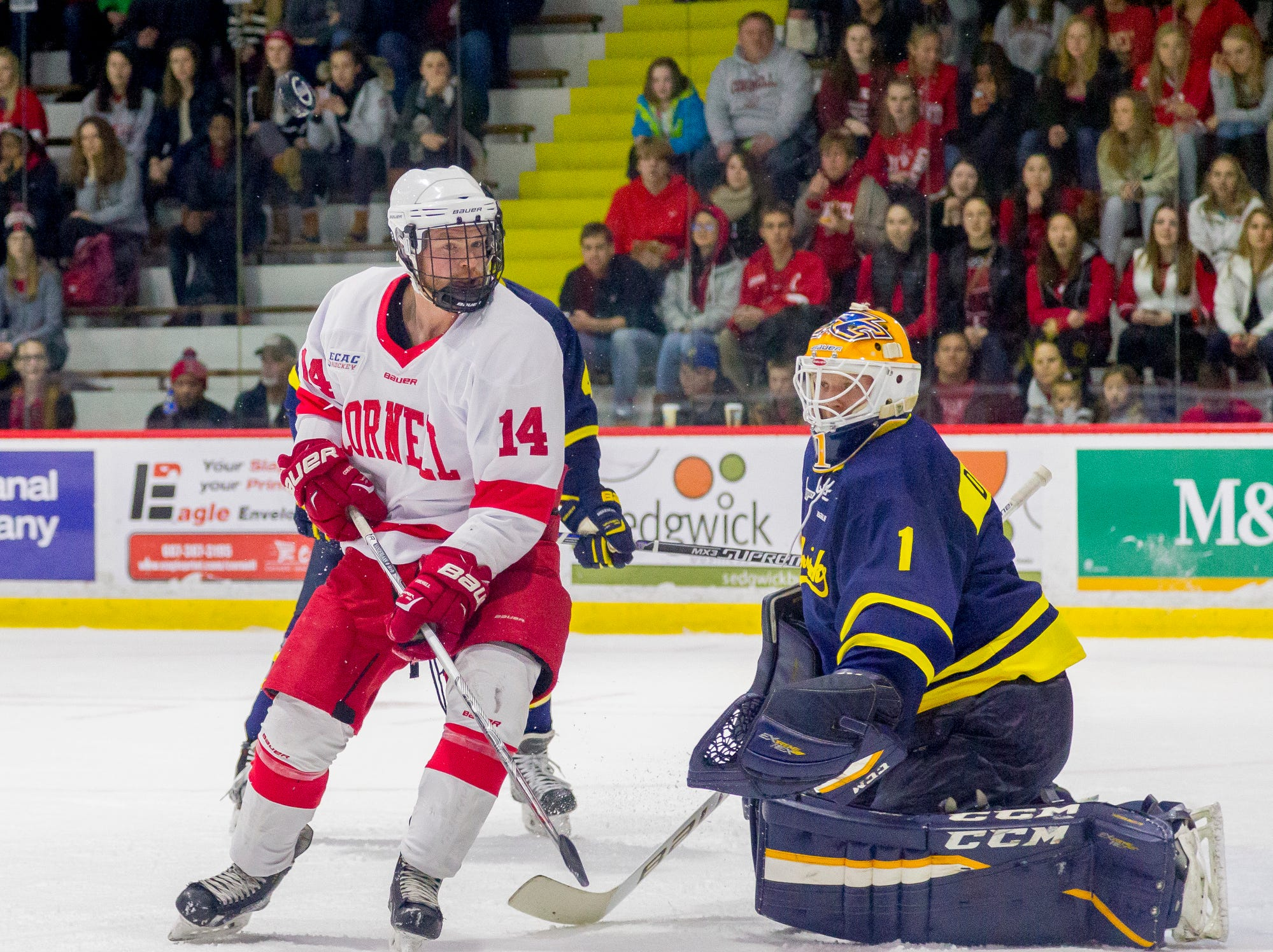 2016: Cornell's Mitch Vanderlaan can't get to a puck over his head in front of Merrimack goalie Colin Delia during the first period of their game Saturday night at Lynah Rink on the Cornell University campus.