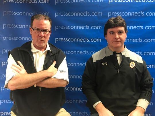 Binghamton Press & Sun-Bulletin sports reporters Kevin Stevens, left, and Rob Centorani.