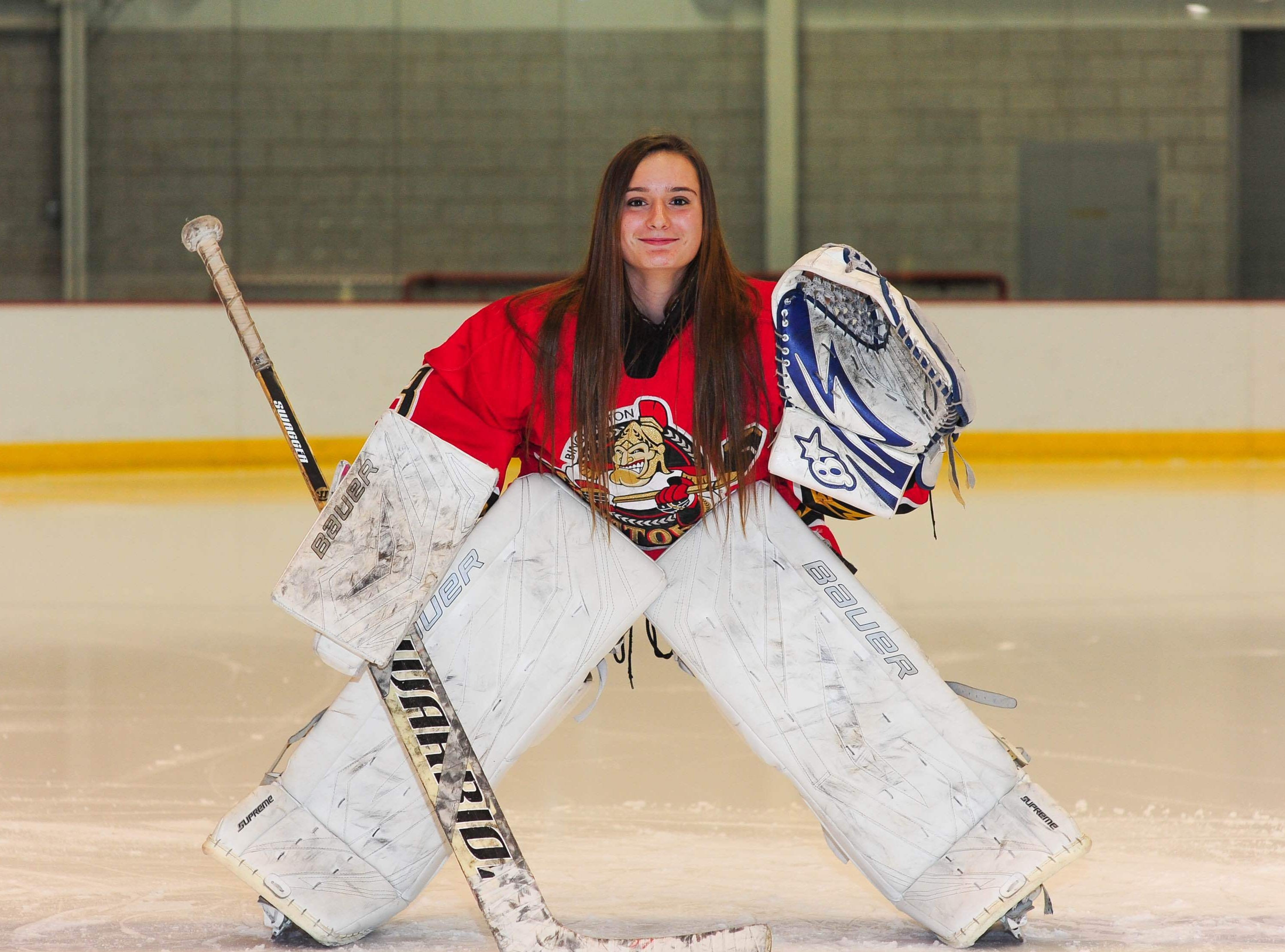 2015: In addition to playing for her high school team at Maine-Endwell, Rebecca Reynolds is the goalie for the Southern Tier Hockey Association's 18-Under Jr. B-Sens travel team.