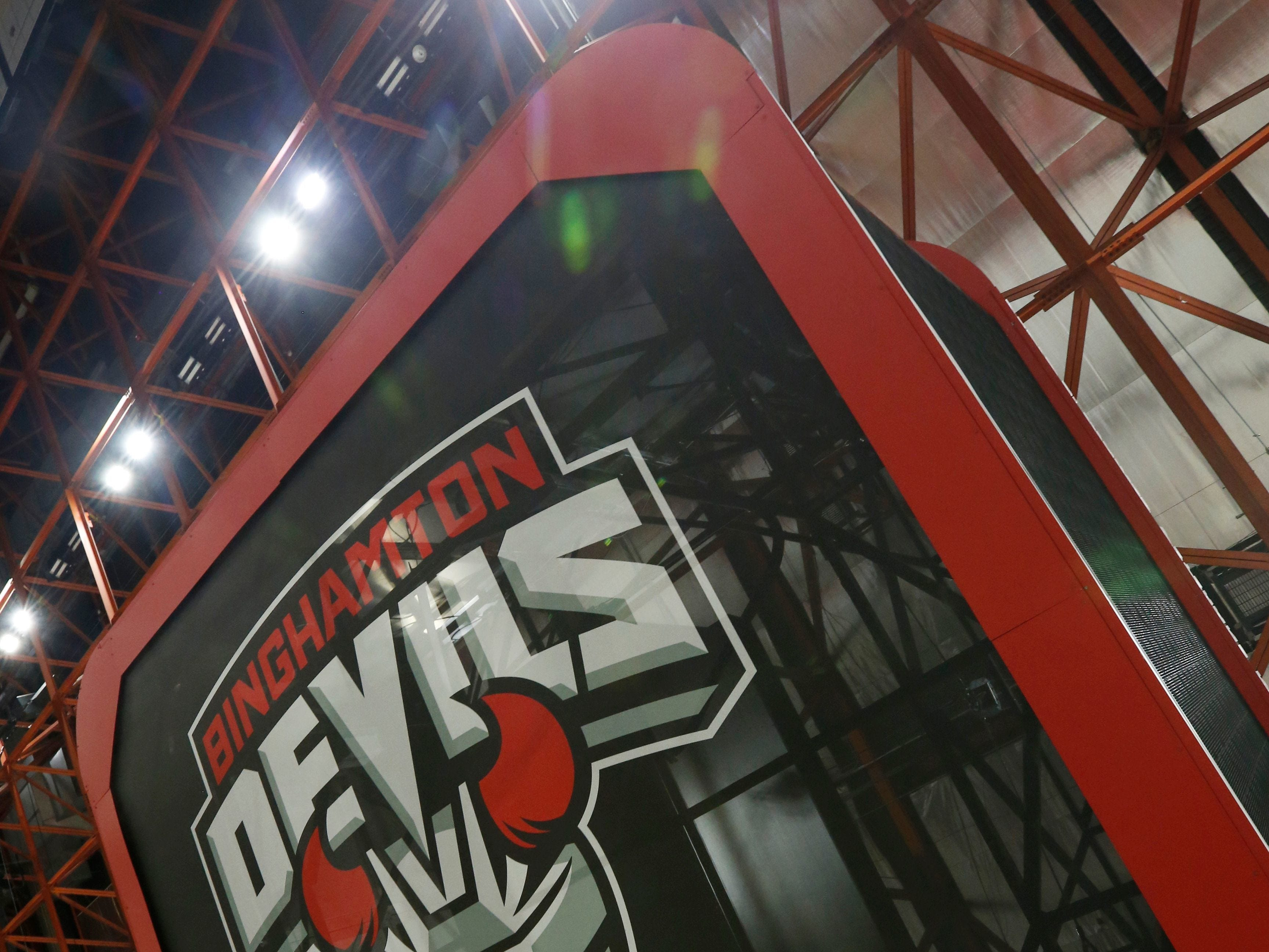 2017: The bottom of the scoreboard inside the Floyd L. Maines Veterans Memorial Arena in Binghamton on Tuesday, September 5, 2017. The Binghamton Devils logo was added as part of the arena's redecorating prior to the start of hockey season.