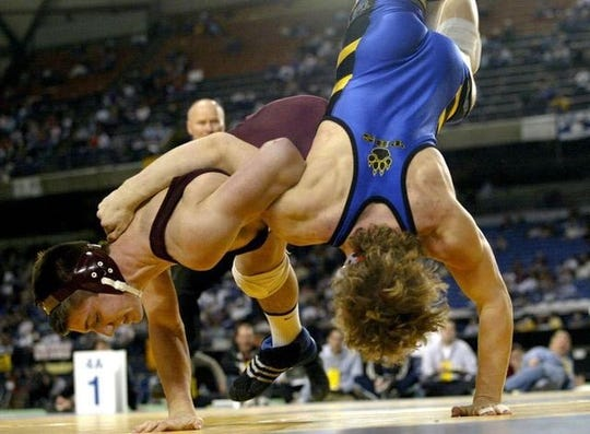 Brent Chriswell of South Kitsap, left, during the 2006 Mat Classic in Tacoma.
