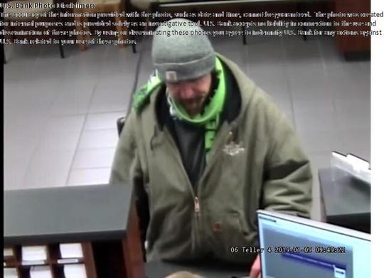 Bremerton police released this image, taken from surveillance footage, of a bank robbery suspect at the U.S. Bank in Bremerton, WA on Jan. 9. Redding police said the man is Kelly Ace Burns, who is suspected of robbing the Chase Bank branch in Redding on Jan. 17.