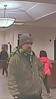 Bremerton police released this image, taken from surveillance footage, of a suspect in a robbery at the U.S. Bank on Sixth Street on Wednesday morning.