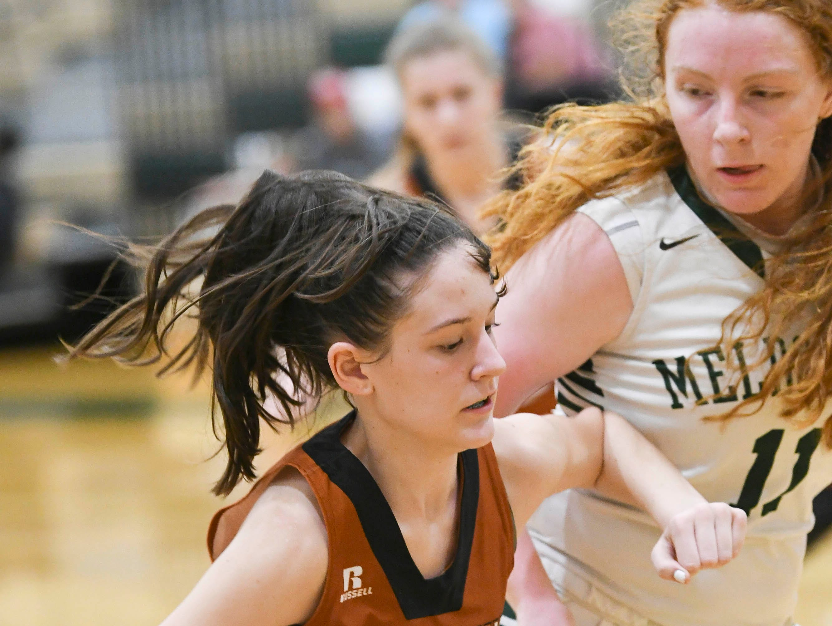 Alison Fitzpatrick of Harmony is guarded by Maggie Scott of Melbourne during Tuesday's game.