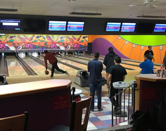 South Burlington High School students play a serious game of bowling on Tuesday,  Jan. 9, 2019, at Champlain Lanes in Shelburne.