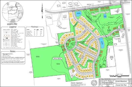 Proposed housing (yellow) and open space (green) is shown in this plan of Dorset Meadows updated on Jan. 8, 2019.