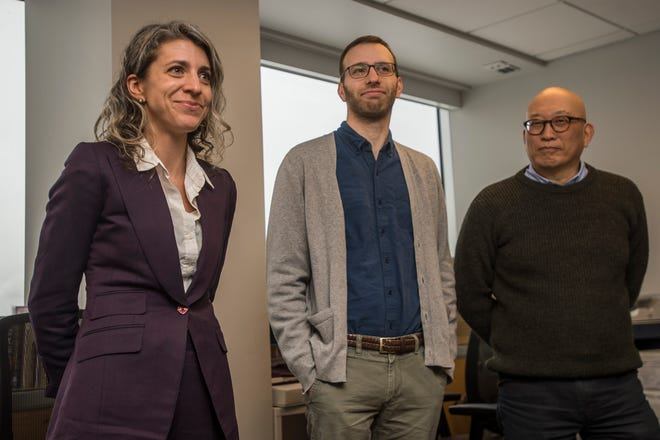 From left, newly appointed Executive Editor Emilie Stigliani will lead the Burlington Free Press with her leadership team; Digital Innovation Editor Evan Weiss and Insights and Engagement Editor Aki Soga. The announcement was made Wednesday, Jan. 9, 2019, by Former Free Press Executive Editor Michael Kilian who now serves as the USA Today Network State Editor for New York and Vermont and Executive Editor of the Rochester Democrat and Chronicle.