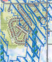 A proposed plan for Dorset Meadows housing in South Burlington is superimposed on a city map that offers guidance (blue cross-hatches) for connectivity of wetlands. This image, created in December 2018 by the group Save Open Space South Burlington, accompanies a challenge to the project, filed with the city's Development Review Board.