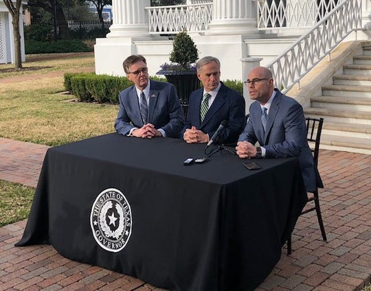 Lt. Gov. Dan Patrick, Gov. Greg Abbott and House Speaker Dennis Bonnen at the Governor's Mansion on Jan. 9, 2019.
