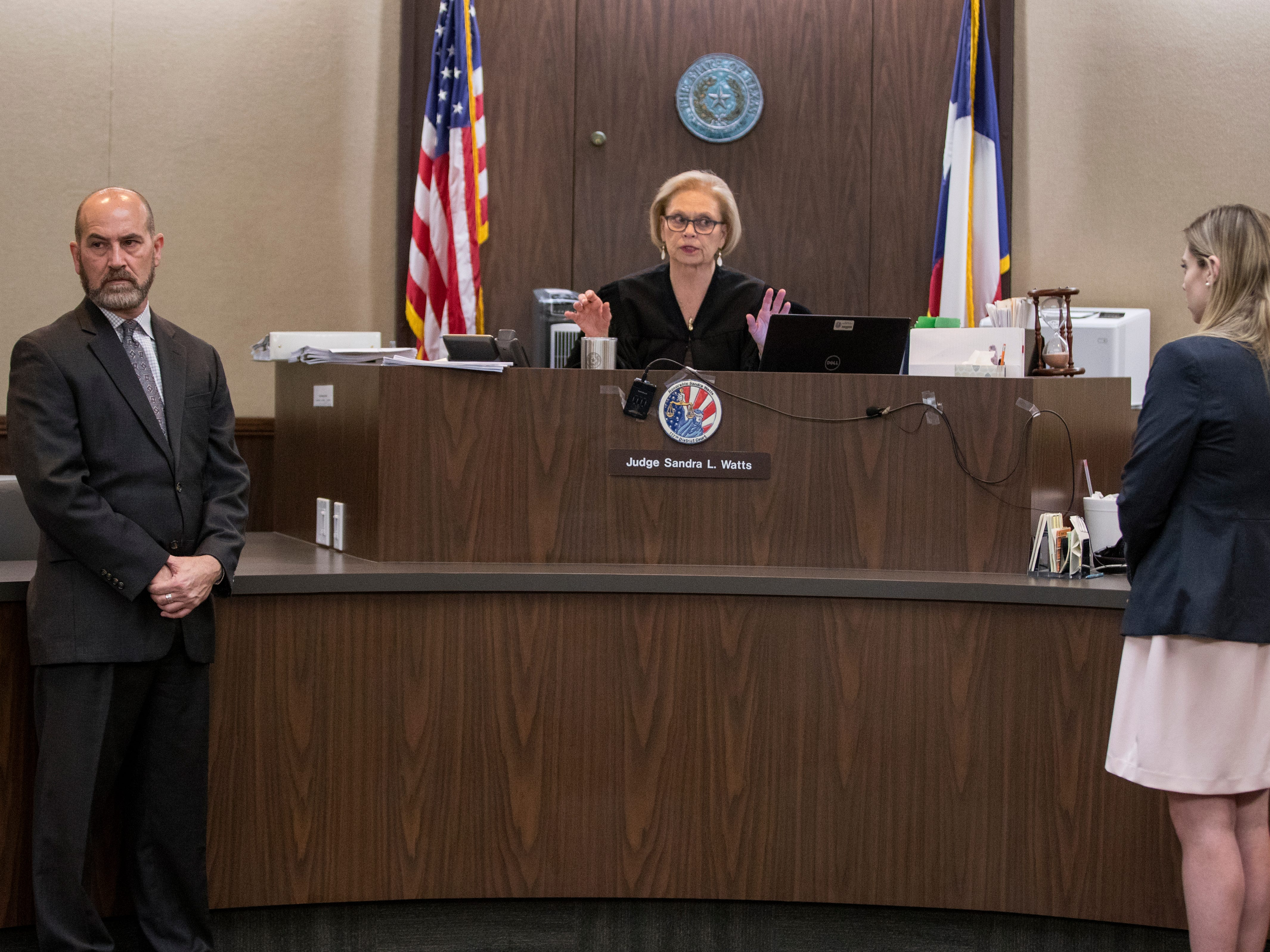 Judge Sandra Watts, 117th District Court, instructs anyone testifying to leave the courtroom before opening statements begin in the trial of Elton Wayne Holmes on Tuesday, January 9, 2018. Holmes is charged with accident involving death, accident involving serious bodily injury, aggravated assault causing serious bodily injury and manslaughter in an alleged hit-and-run that left Rai-ane Garza, a King High School student dead.