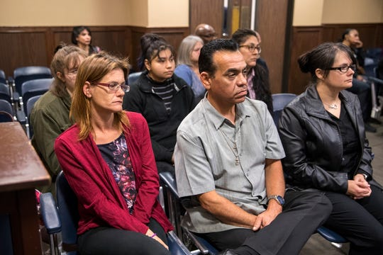 Family and friends of Rai-ane Garza were in the courtroom for opening statement in the trial of Elton Wayne Holmes in the 117th District Court on Tuesday, January 9, 2018. Holmes is charged with accident involving death, accident involving serious bodily injury, aggravated assault causing serious bodily injury and manslaughter in an alleged hit-and-run that left Garza, a King High School student dead.