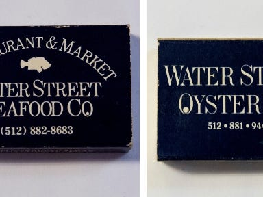 Water Street Oyster Bar is still in business, but you can tell this matchbook is old: the area code is listed as 512. South Texas lost the 512 area code to Austin in September 1999.