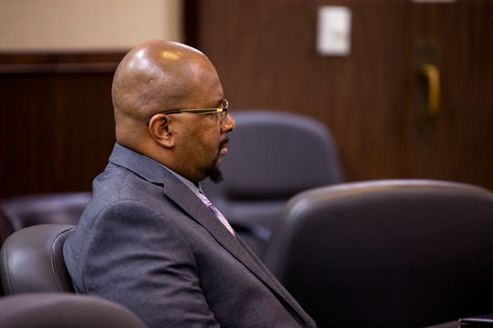 Elton Wayne Holmes waits for opening statements to begin in the 117th District Court on Tuesday, January 9, 2018. Holmes is charged with accident involving death, accident involving serious bodily injury, aggravated assault causing serious bodily injury and manslaughter in an alleged hit-and-run that left Rai-ane Garza, a King High School student dead.