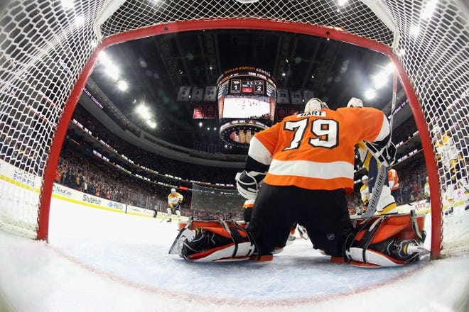Carter Hart is expected to be in goal Thursday night, hoping to end the Flyers' eight-game losing streak.