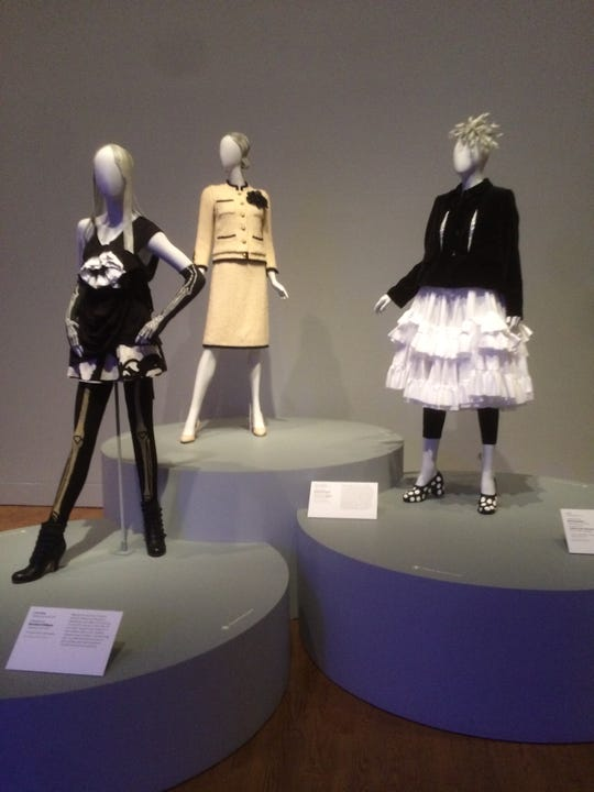 The installation of 'Black and White Accent' outfits by Chanel, Bernhard Willhelm, and Comme des Garcons are part of 'Fabulous Fashion'' at Philadelphia Museum of Art.