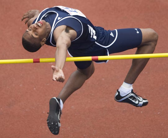 Timber Creek's Montez Blair clears 1.96 meters as he competes in the high jump event at the 2008 Penn Relays. Blair, a state champion in high school, is competing in NBC's 'The Titan Games' and is considering whether to train for decathlon in the 2020 Olympics.
