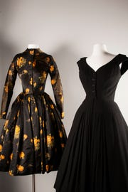 This installation, '1953 and 1957,' features a James Galanos Black Cocktail Dress, made of wool, circa 1953, (FHCC Purchase) and a James Galanos Floral Print Afternoon Dress, a silk warp-printed taffeta, created winter 1957-58, and donated in Memory of James Galanos, from the collection of David B. Nash.