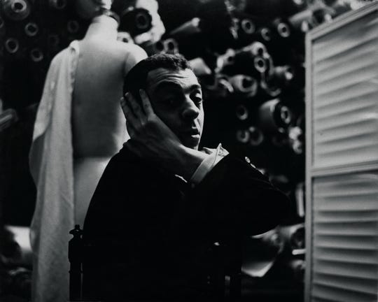 A portrait of James Galanos, circa 1955.
