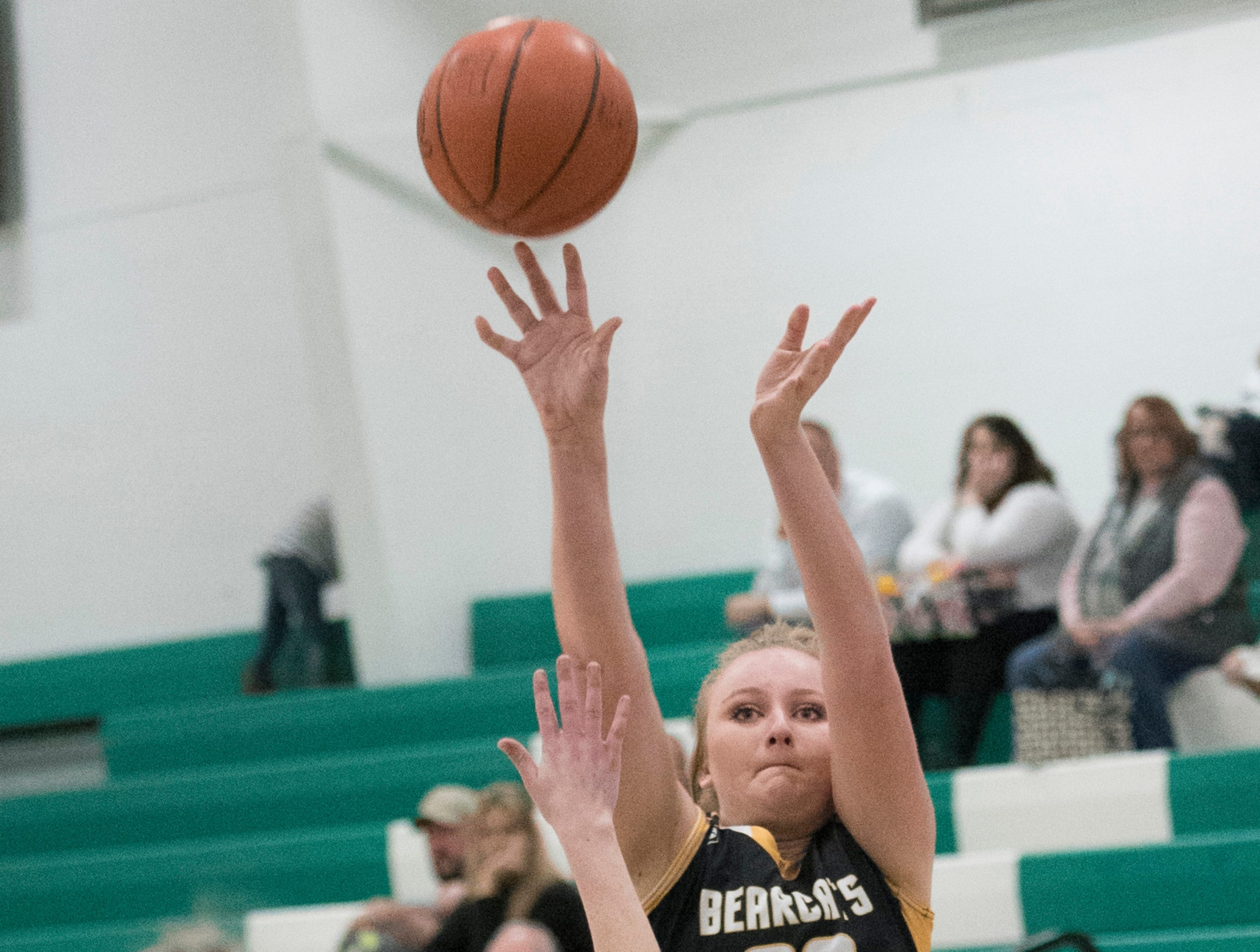 Paint Valley's Kelsey Dunn makes a jump shot to score Tuesday night against Huntington. Huntington defeated Paint Valley 68-51.