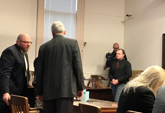 George Wagner IV, right, walks into the Pike County courtroom for his initial pretrial hearing on Jan. 9, 2019. Wagner is charged in the aggravated murders of eight members of the Rhoden family in April 2016.