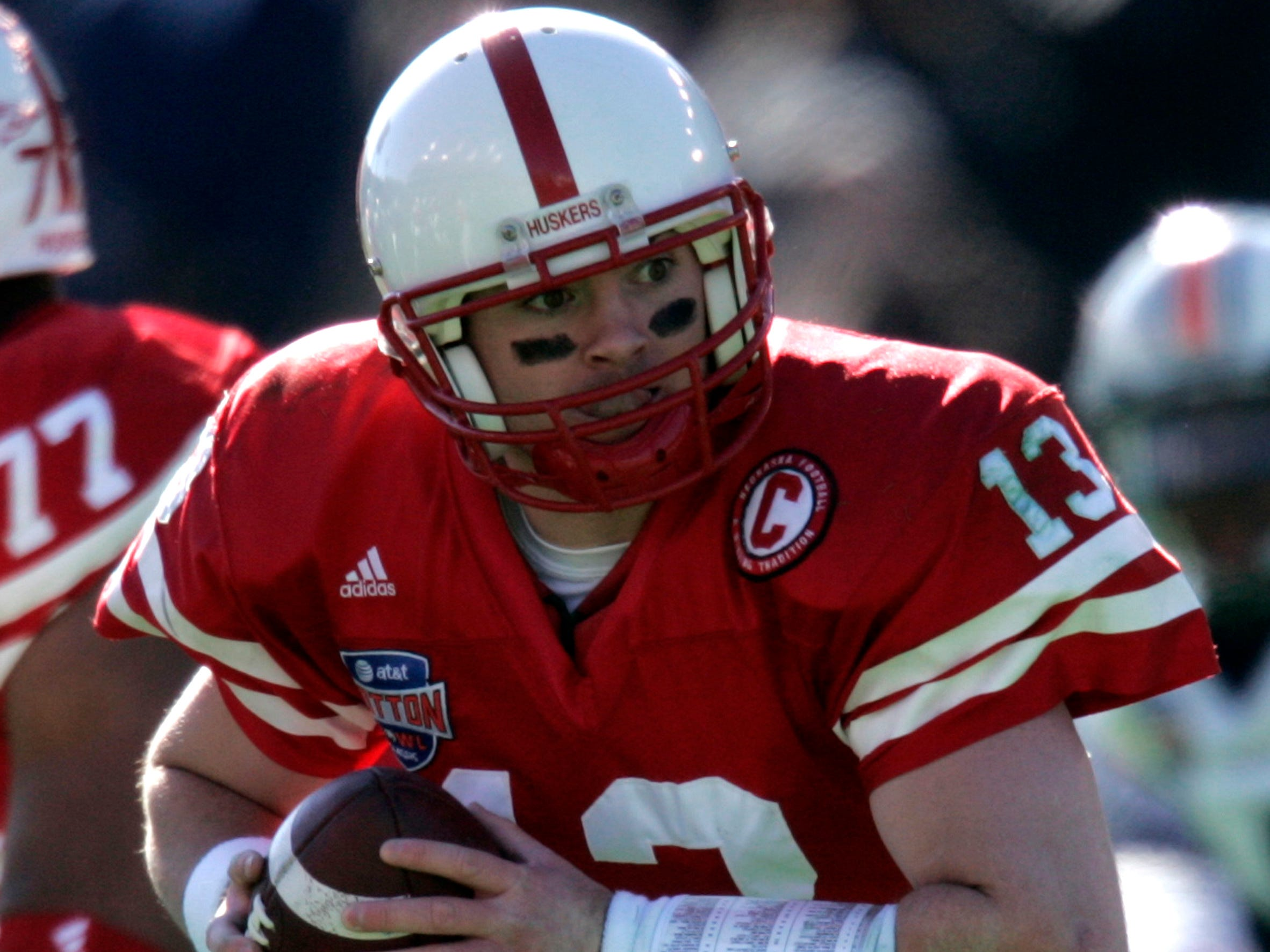 Nebraska quarterback Zac Taylor (13) fades back with the ball in the first quarter against Auburn in the Cotton Bowl college football game in Dallas, Monday, Jan. 1, 2007.