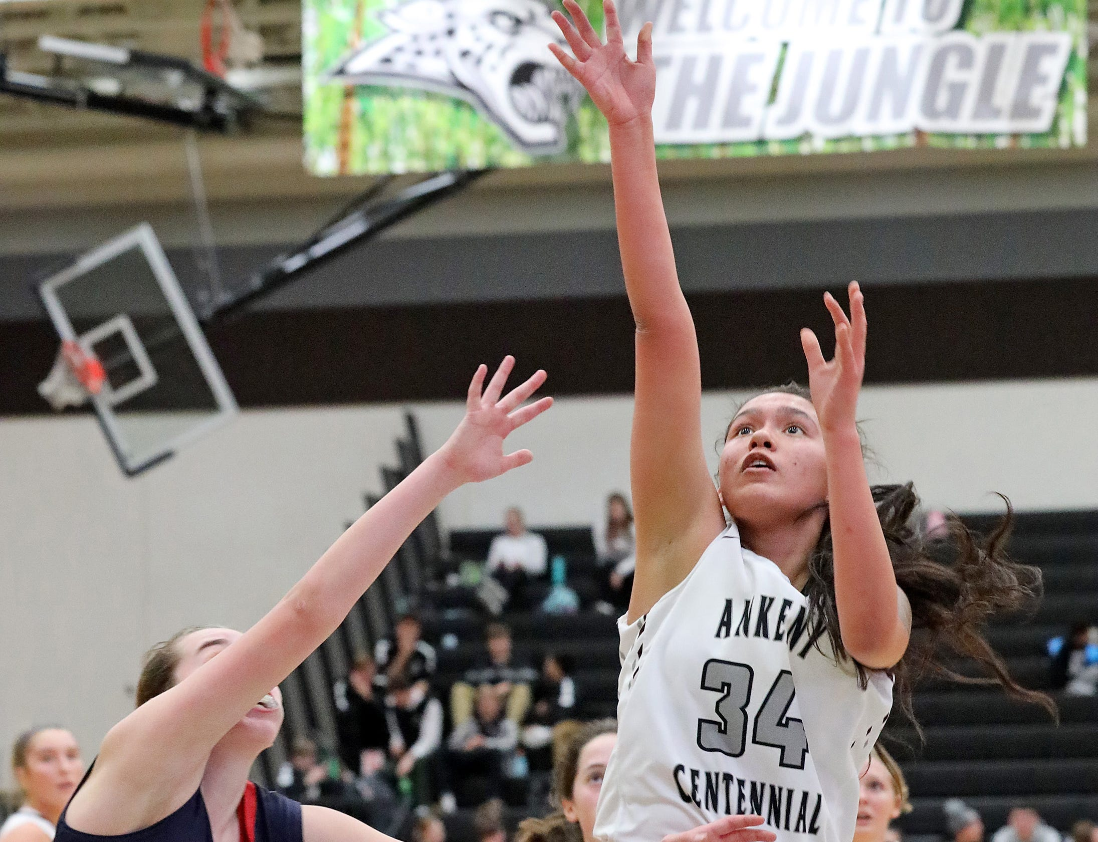 Ankeny Centennial junior Alexandria Keahna-Harris sinks the short jumper as the Marshalltown Bobcats compete against the Ankeny Centennial Jaguars in high school girls basketball on Tuesday, Jan. 8, 2019 at Ankeny Centennial High School.  ACHS won 70 to 19.