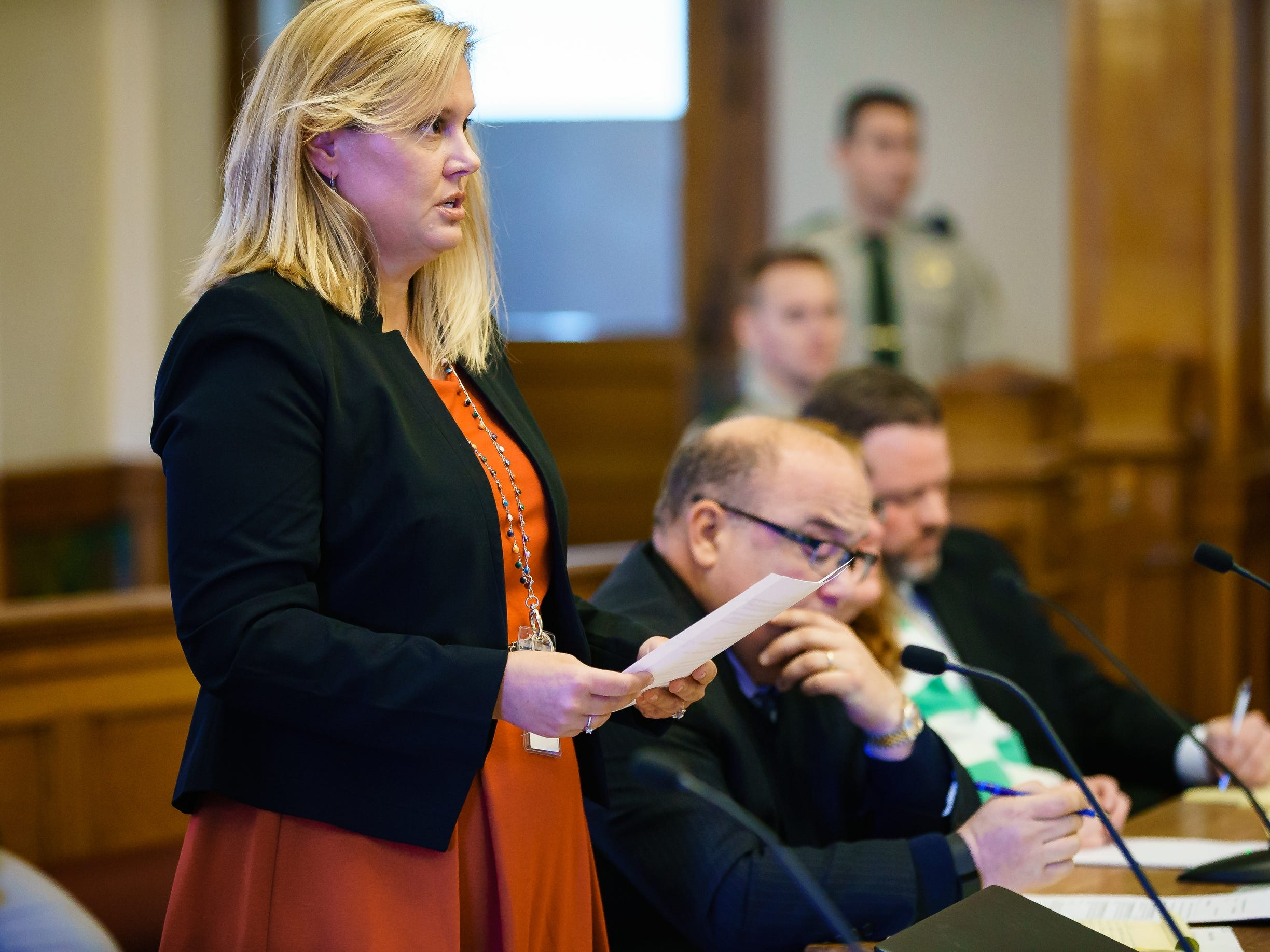 Assistant Dallas County Attorney Stacey Ritchie speaks during a plea hearing for Misty Ray at the Dallas County Courthouse on Wednesday, Jan. 9, 2019, in Adel. Ray entered a guilty plea to three kidnapping charges.