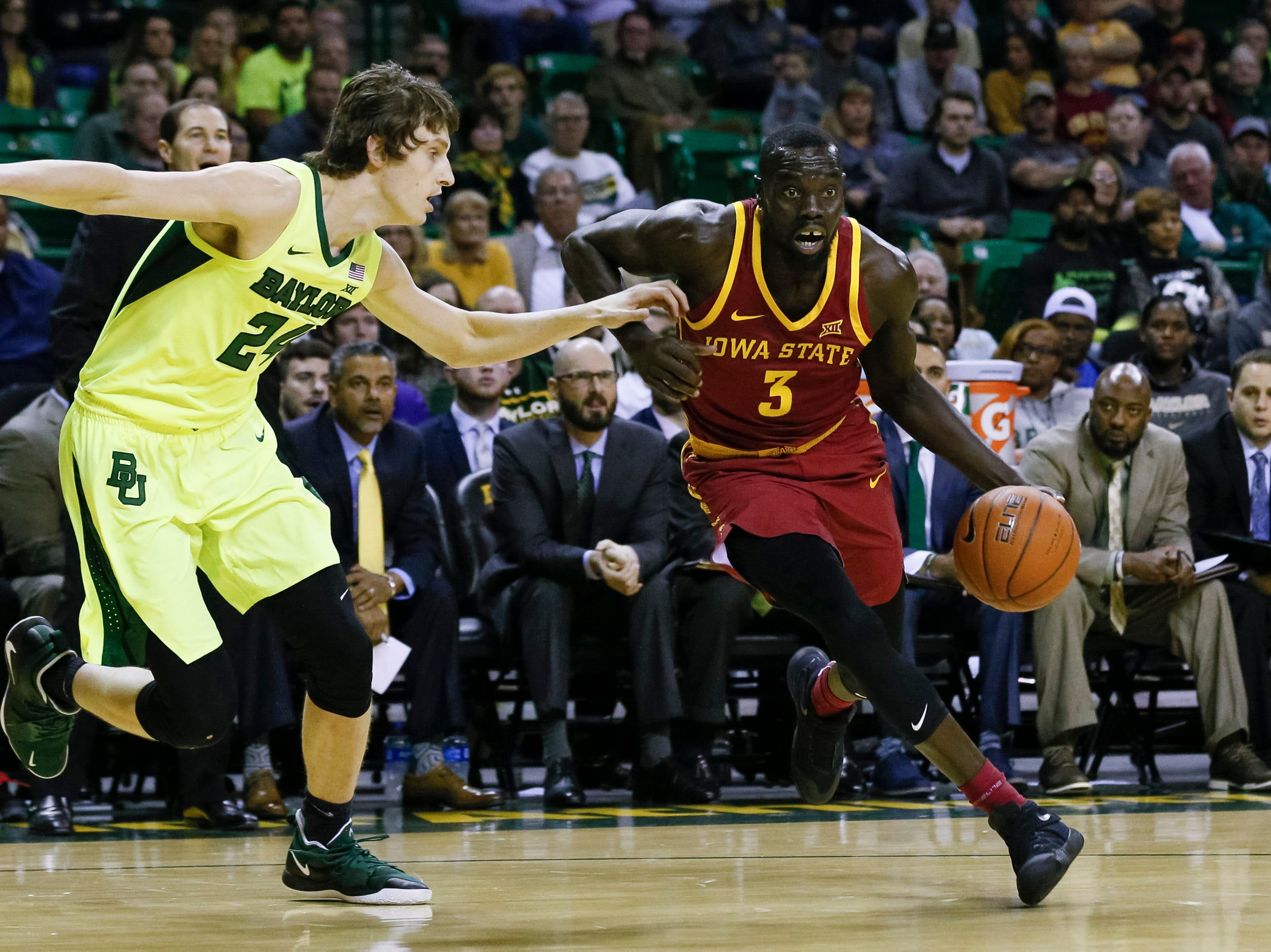 Iowa State Cyclones guard Marial Shayok (3) drives against Baylor Bears guard Matthew Mayer (24) during the first half at Ferrell Center.