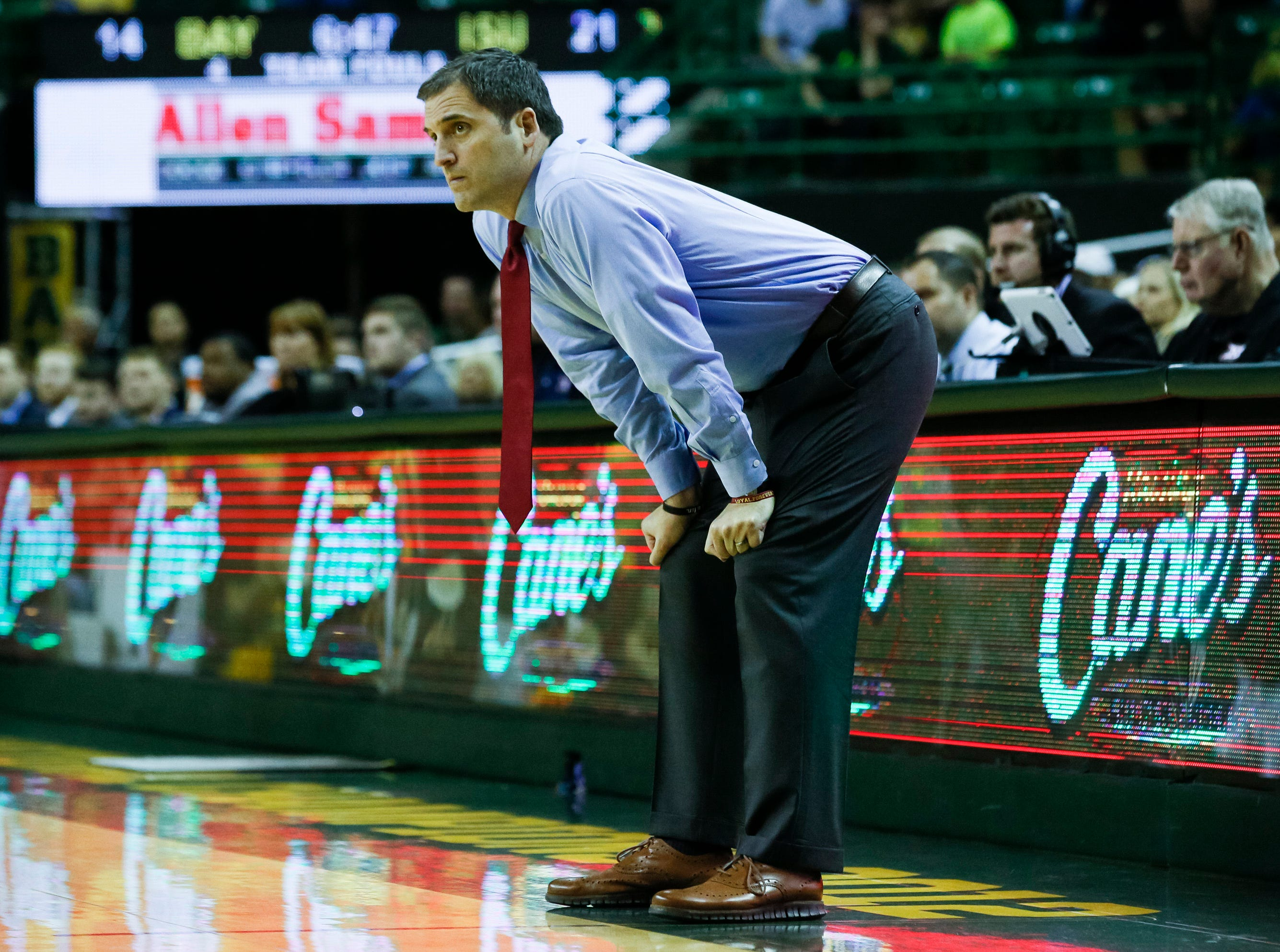 Iowa State Cyclones head coach Steve Prohm watches from the sidelines during the first half against the Baylor Bears at Ferrell Center.