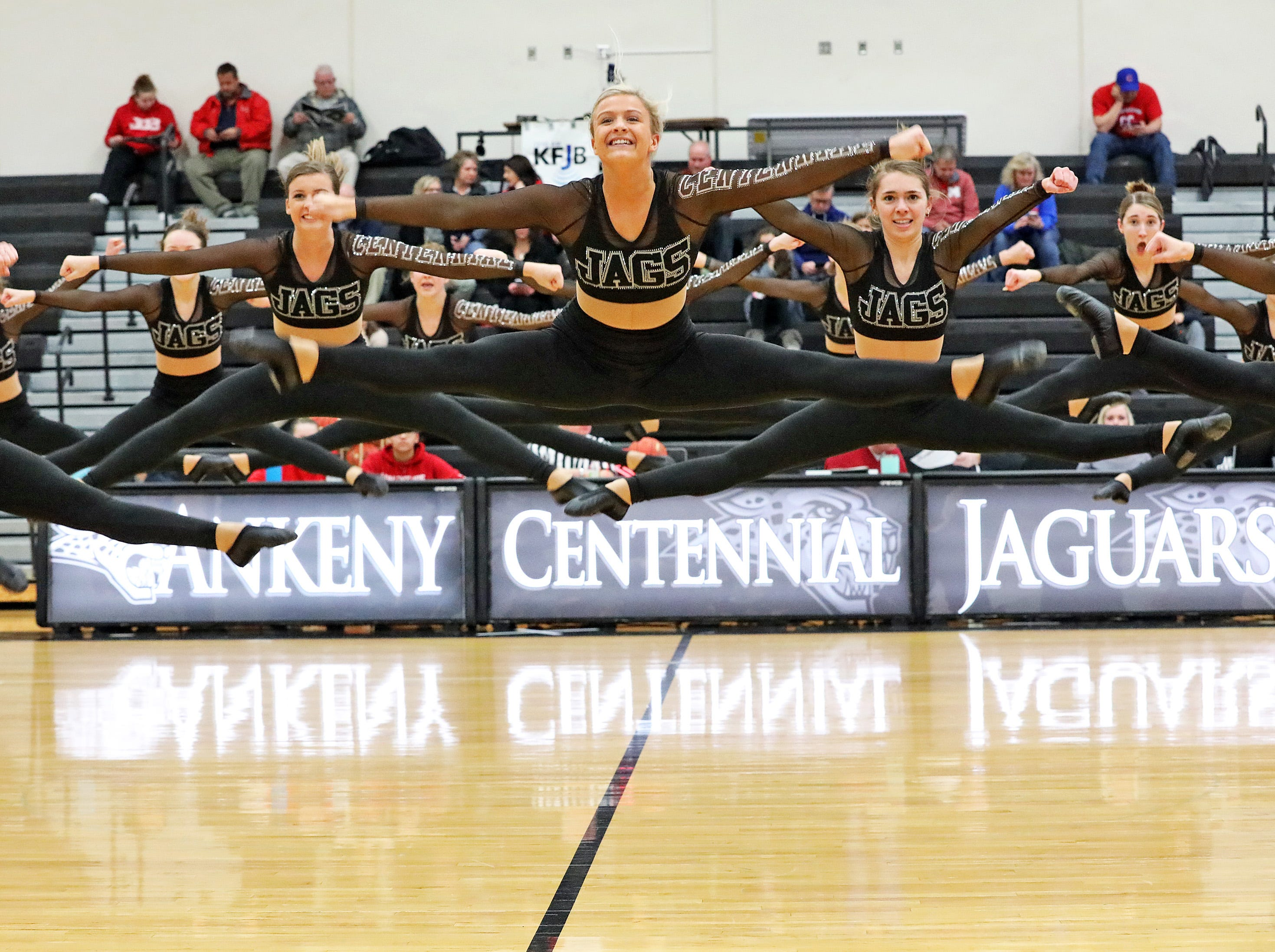 The half-time show featured the Ankeny Centennial Dance Team, which is the defending National Champions in the Pom Division at the National Dance Alliance Championships held in Orlando, Florida.