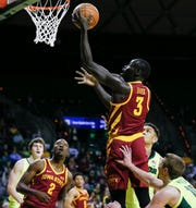 Iowa State Cyclones guard Marial Shayok (3) drives to the basket against the Baylor Bears during the first half at Ferrell Center.