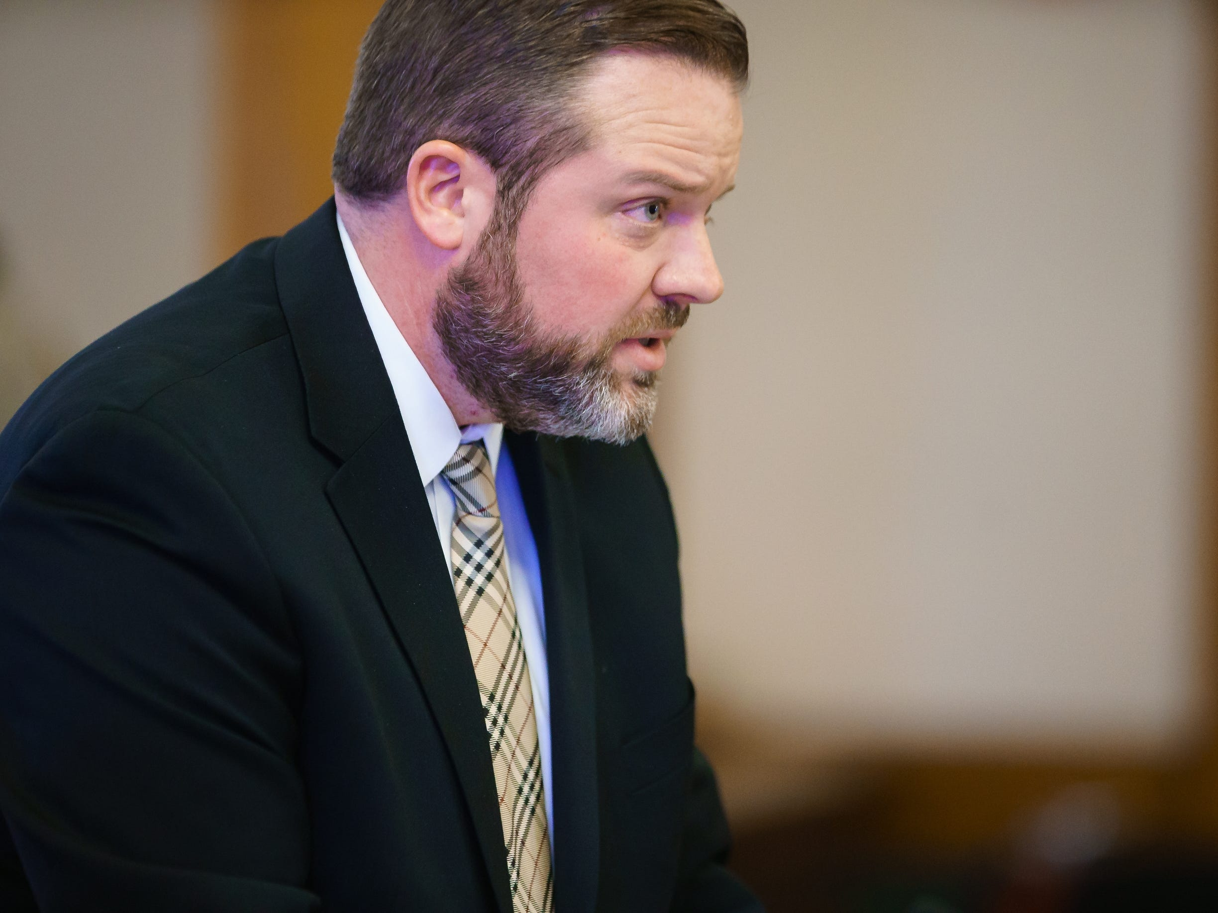 Misty Ray's defense attorney Sean Spellman speaks during a hearing at the Dallas County Courthouse on Wednesday, Jan. 9, 2019, in Adel. Ray plead guilty to three counts of kidnapping.