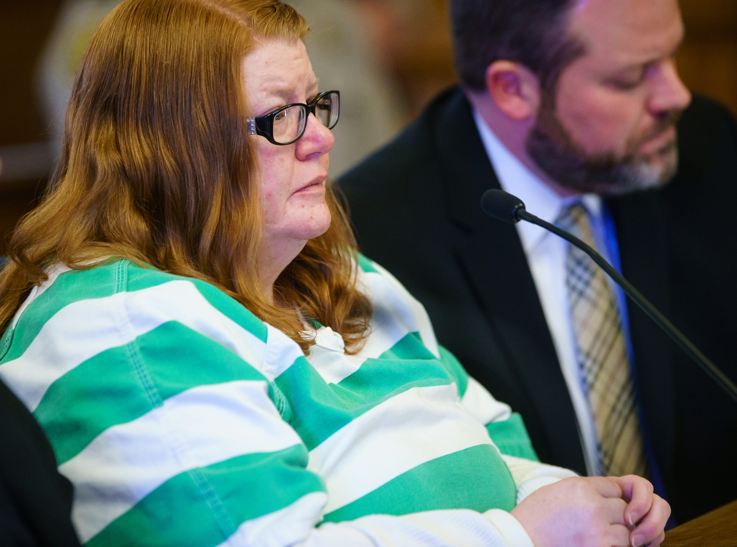 Misty Ray pleads guilty to three counts of kidnapping during a hearing at the Dallas County Courthouse on Wednesday, Jan. 9, 2019, in Adel.