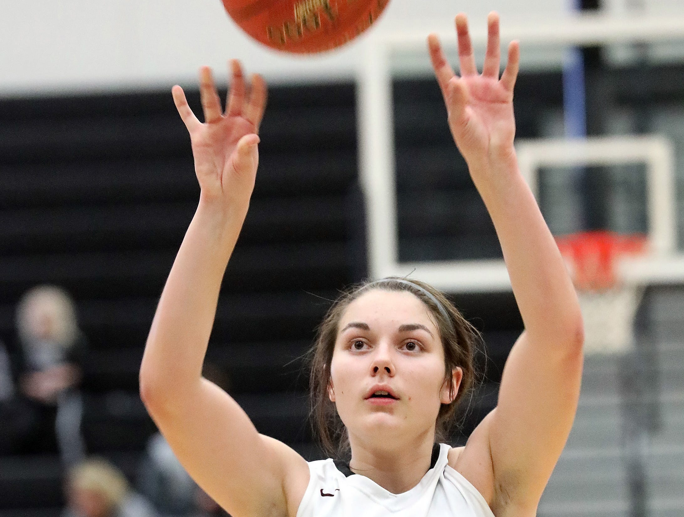Ankeny Centennial freshman Cleao Murray makes her free throw attempt as the Marshalltown Bobcats compete against the Ankeny Centennial Jaguars in high school girls basketball on Tuesday, Jan. 8, 2019 at Ankeny Centennial High School. ACHS won 70 to 19.