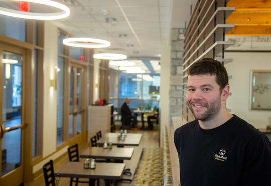Ryan McCauley, co-owner of Main Street Café & Bakery at 801 Grand Ave. in the skywalk Wednesday, Jan. 9, 2019.