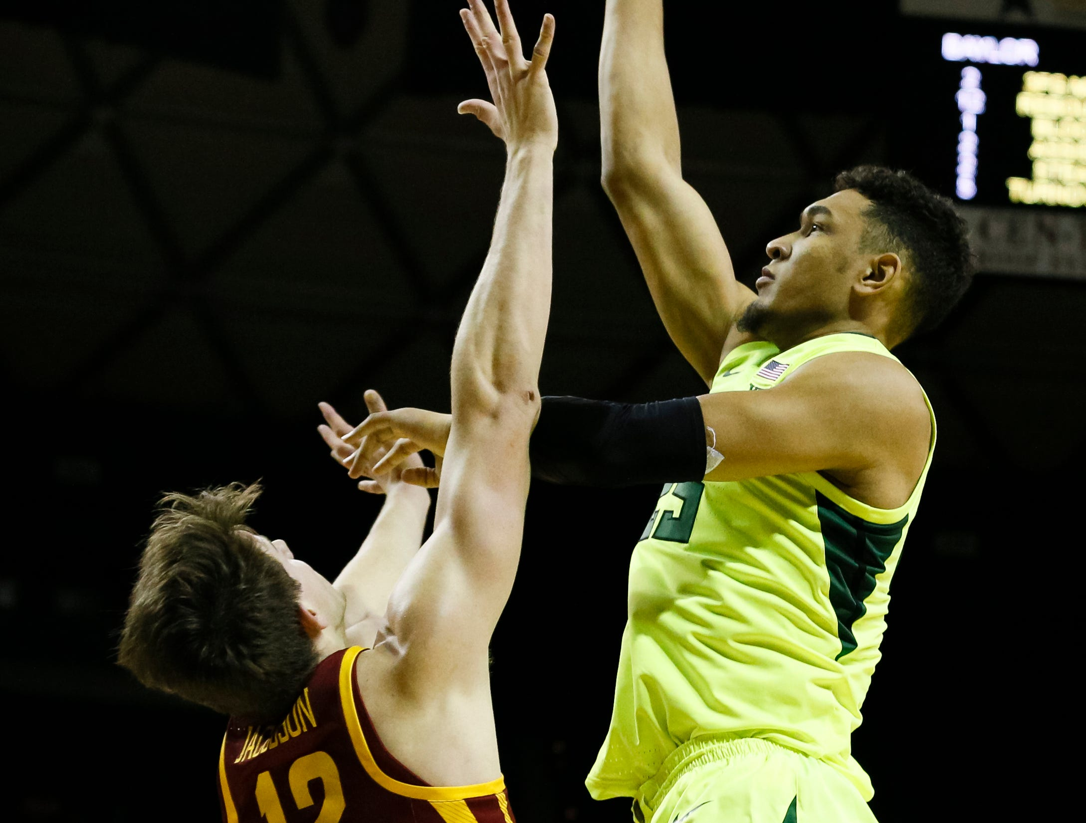 Baylor Bears forward Tristan Clark (right) shoots over Iowa State Cyclones forward Michael Jacobson (12) during the first half at Ferrell Center.